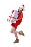 Sonrisa feliz de la muchacha de la Navidad Imágenes de archivo libres de regalías