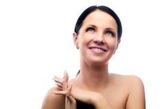 sonrisa feliz de la mujer joven Imagen de archivo libre de regalías
