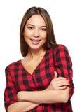 Sonrisa femenina adolescente con los apoyos en sus dientes Imagen de archivo libre de regalías