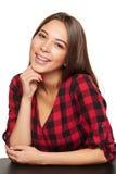 Sonrisa femenina adolescente con los apoyos en sus dientes Imagen de archivo