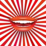 Sonrisa grande en resplandor solar rojo Fotografía de archivo