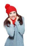Sonrisa hecha punto rojo del sombrero y de la bufanda Imagen de archivo libre de regalías