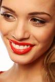 Sonrisa hermosa con los dientes hermosos Imágenes de archivo libres de regalías