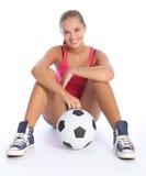 Sonrisa hermosa de la muchacha adolescente joven de los deportes Fotos de archivo