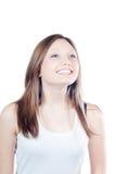 Sonrisa hermosa feliz de la muchacha aislada Imágenes de archivo libres de regalías