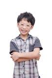 Sonrisa joven del muchacho sobre blanco imágenes de archivo libres de regalías