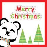 Sonrisa linda de la panda e historieta del árbol de Navidad, postal de Navidad, papel pintado, y tarjeta de felicitación Foto de archivo
