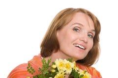 Sonrisa madura hermosa de la mujer fotos de archivo