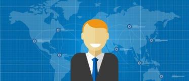 Sonrisa masculina corporativa del encargado ejecutivo global del líder mundial con el mapa conectado libre illustration