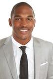 Sonrisa masculina del negocio afroamericano joven imagenes de archivo