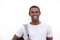 Sonrisa negra del estudiante universitario Fotos de archivo libres de regalías