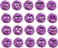 Sonrisa púrpura de la col de la historieta con muchas expresiones Imagen de archivo libre de regalías