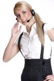 Sonrisa representativa del servicio de atención al cliente femenino Imagen de archivo
