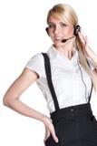 Sonrisa representativa del servicio de atención al cliente femenino Fotografía de archivo