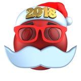 sonrisa roja del emoticon 3d con el sombrero 2018 de la Navidad Fotos de archivo libres de regalías