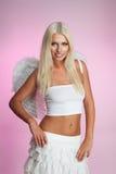 Sonrisa rubia hermosa del ángel imagen de archivo