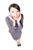 Sonrisa sorprendida joven de la mujer de negocios Fotos de archivo