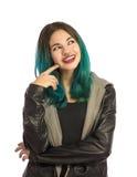 Sonrisa y muchacha feliz que miran hacia arriba Imagen de archivo libre de regalías