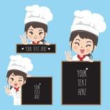 Sonrisa y pizarra de la mujer del cocinero stock de ilustración