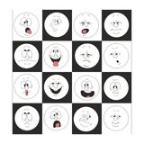 Sonrisas de la emoción fijadas en la caja 002 Imágenes de archivo libres de regalías