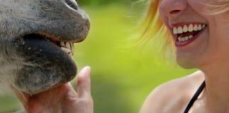 Sonrisas de la muchacha y del caballo felices Fotografía de archivo libre de regalías