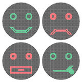 Sonrisas del pixel Iconos muestra Imagen de archivo