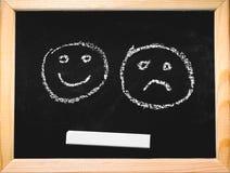 Sonrisas pintadas en una pizarra Imagen de archivo