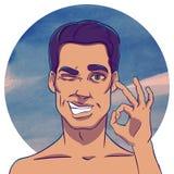 Sonrisas y demostraciones del hombre de pelo oscuro MUY BIEN Fotografía de archivo libre de regalías