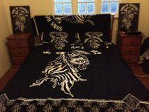 Sons of anarchy. Bedroom set up in sons of anarchy theme Stock Images
