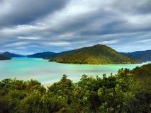 Sons de Marlborough, cozinheiro Strait, Nova Zelândia fotos de stock