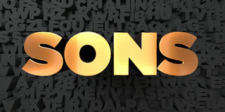 Sons - Gold text on black background - 3D rendered royalty free stock picture Stock Photography