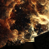 Sons of stars (Elements of this image furnished by NASA). Photo-montage with the Tarantula Nebula background (Elements of this image furnished by NASA stock photos