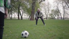 Sonson som sl?r bollen, och farfar som f?ngar den Familj som har rolig det fria, aktiv livsstil Utvecklingsbegrepp stock video