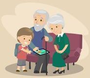 Sonsonen undervisar farfadern och farmodern att använda minnestavlan Hjälp åldringen moderna teknologier vektor Fotografering för Bildbyråer
