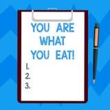 Sont le signe des textes vous montrant ce que vous mangez La photo conceptuelle font prendre un mode de vie sain soin de votre pa illustration de vecteur