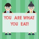 Sont le texte d'écriture vous écrivant ce que vous mangez La signification de concept font prendre un mode de vie sain soin de vo illustration stock