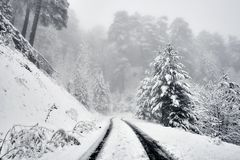 A sonwy and foggy mountain road. Tire tracks on a snowy and foggy mountain road. Heavy snow is falling, all the trees and montains are covered with snow royalty free stock images