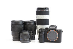 Sony Alpha mirrorless camera and E-mount lenses Stock Images