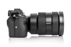 Sony Alpha a7R III Mirrorless Digital Camera. UZHGOROD, UKRAINE - JANUARY 01, 2018: Sony Alpha a7 III Mirrorless Digital Camera Body and lens with 42MP Full stock photo