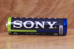 Sony battery. SARANSK, RUSSIA - MAY 28, 2017: Sony AA battery close-up stock image