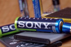 Sony battery. SARANSK, RUSSIA - MAY 28, 2017: Sony AA battery close-up royalty free stock images