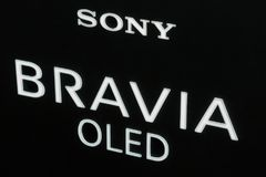 Sony Bravia logo on booth at CEE 2017 in Kiev, Ukraine. Sony Bravia OLED, electronics manufacturer company logo on booth during CEE 2017, the largest consumer Stock Images