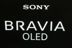 Sony Bravia logo on booth at CEE 2017 in Kiev, Ukraine. Sony Bravia OLED, electronics manufacturer company logo on booth during CEE 2017, the largest consumer Royalty Free Stock Photography