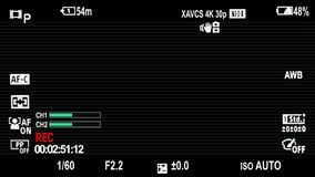 Sony Camera On Screen Display Overlays with scanlines