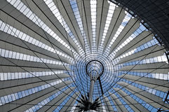 Sony Center. Roof detail of the Sony Center at Potsdamer Platz against blue sky in Berlin, Germany stock images