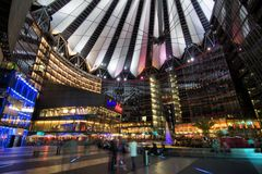 Sony Center. The Sony Center is Sony-sponsored building complex located at the Potsdamer Platz. Sony Center contains a mix of shops, restaurants. It opened in Stock Image