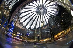 Sony Center. The Sony Center is Sony-sponsored building complex located at the Potsdamer Platz. Sony Center contains a mix of shops, restaurants. It opened in stock photography