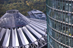 Sony Center. In Berlin from above with the Tiergarten in the background stock photos