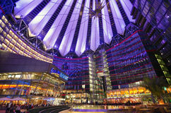 Sony Center in Berlin. Sony commercial center in Postdamar Platz at night Royalty Free Stock Photography