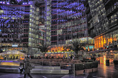 Sony-Center in Berlin. Futuristic Roof of the Sony Center in Berlin illuminated at Night stock photography